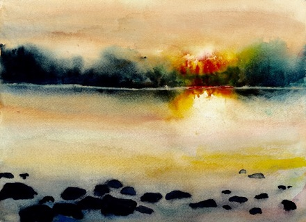 SUNSET BY A ROCKY SHORE
